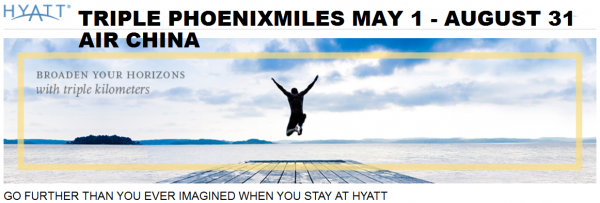 Hyatt Gold Passport Air China Triple Phoenix Miles May 1 August 31 2014