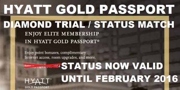hyatt gold passport diamond trial status match status now valid through february 28 2016. Black Bedroom Furniture Sets. Home Design Ideas