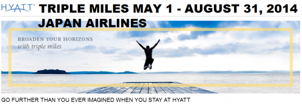 Hyatt Gold Passport Japan Airlines Mileage Bank May 1 August 31 2014