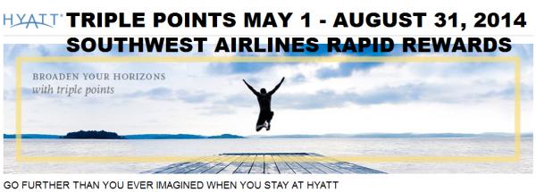 Hyatt Gold Passport Triple Points Southwest Airlines Rapid Rewards May 1 August 31 2014
