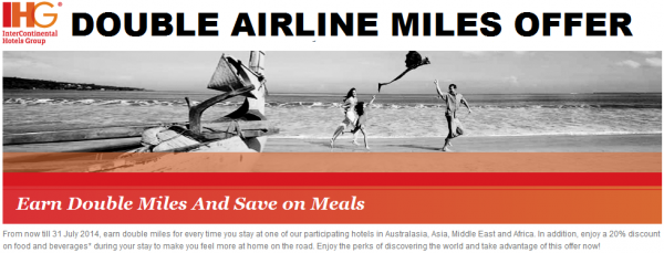 IHG Rewards Club Double Airline Miles Rate July 31 2014