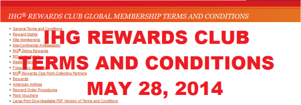 IHG Rewards Club Terms & Conditions Changes May 28 2014