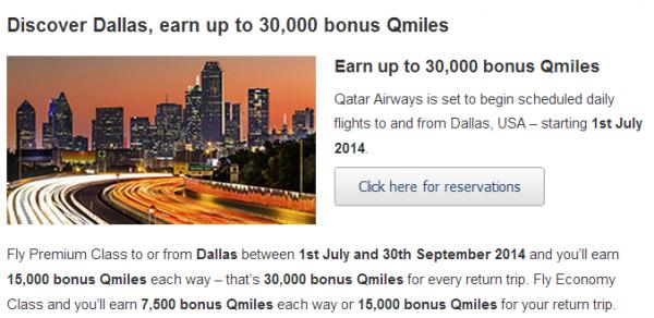 Qatar Airways Dallas Bonus