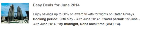 Qatar Airways Privilege Club Easy Deals June 2014