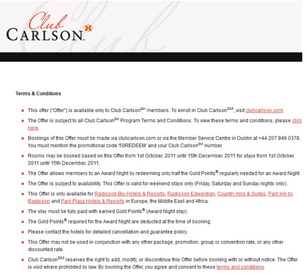 Club Carlson up to 5, bonus points per stay in Canada until March 31, Club Carlson Up To 5, Bonus Points Per Stay In Canada November 16 – March 31, Club Carlson is offering third night free at select hotels in Europe, Middle East & Africa until March 31,
