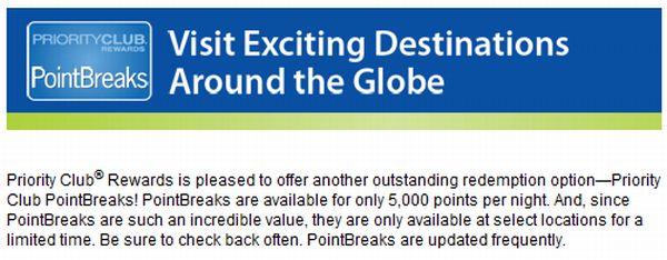 InterContinental Hotels Group Points Breaks
