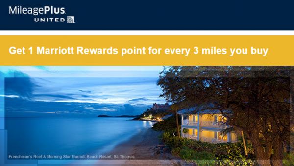 United MileagePlus Marriott Rewards Buy Miles Promo October 2014