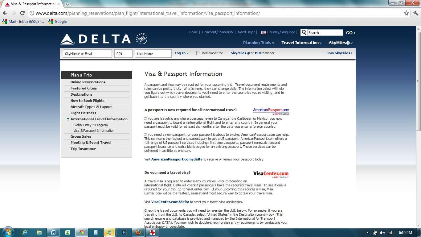 International Travel Documents Delta