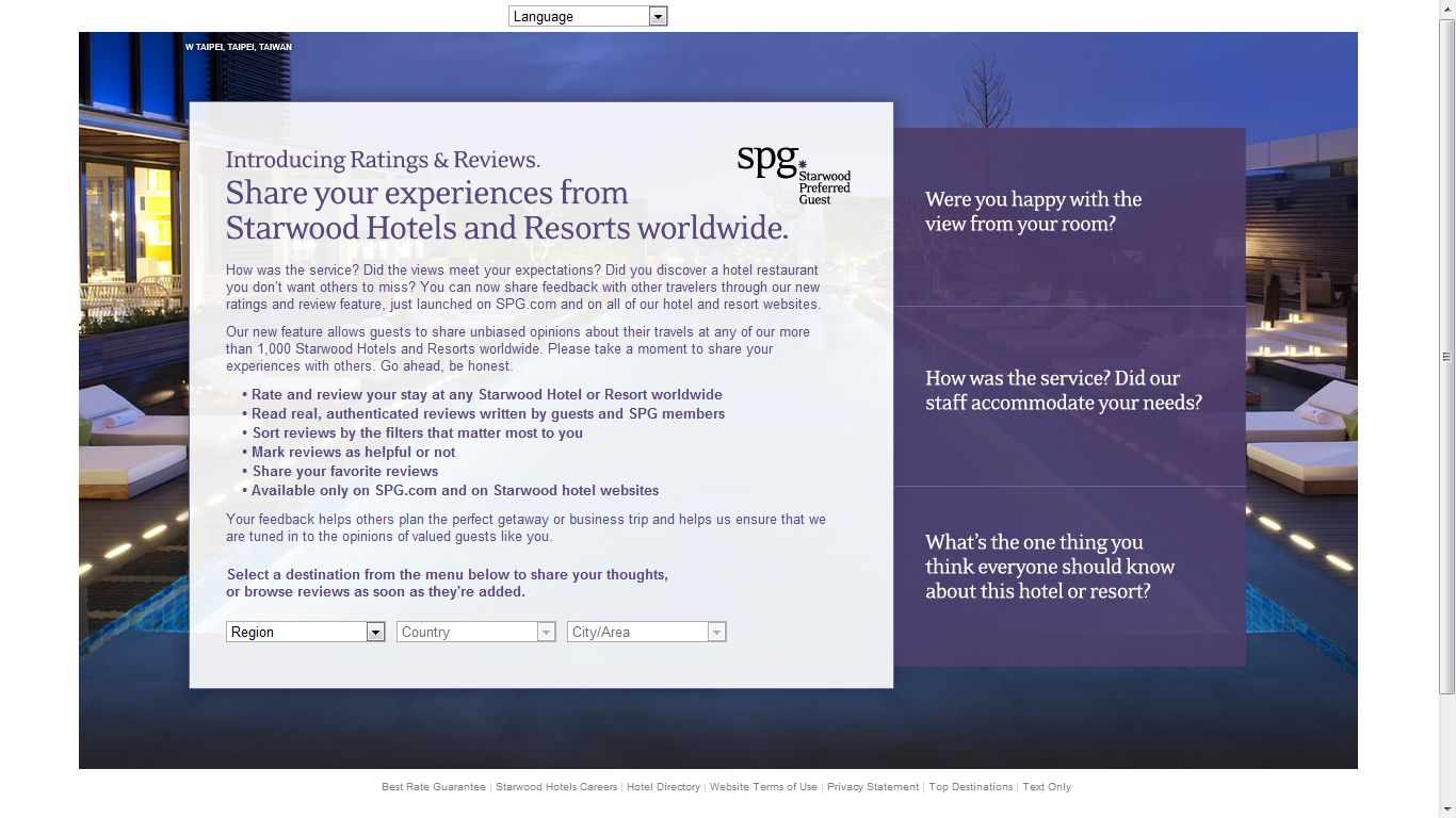 Starwood Preferred Guest Introducing Ratings Reviews