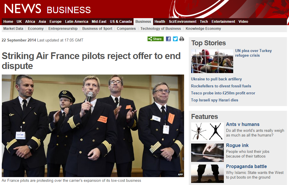 Air France Strike Second Week BBC