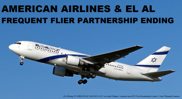 American Airlines El Al Frequent Flier Partnership Ending Photo