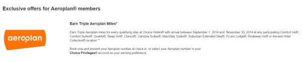 Choice Privileges Air Canada Aeroplan Triple Miles Offer September 1 November 30 2014
