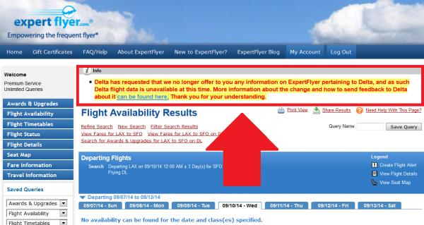 ExpertFlyer Delta Airlines U