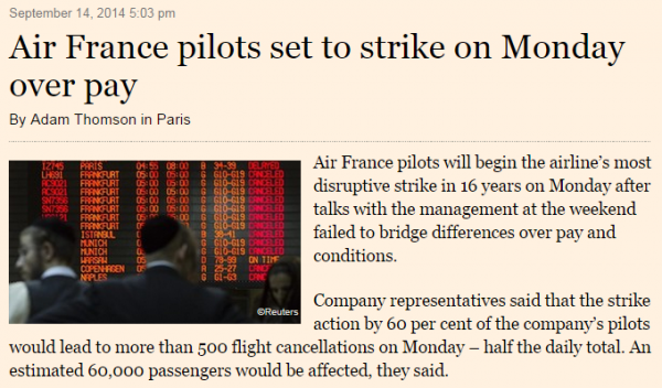 Financial Times Air France Strike