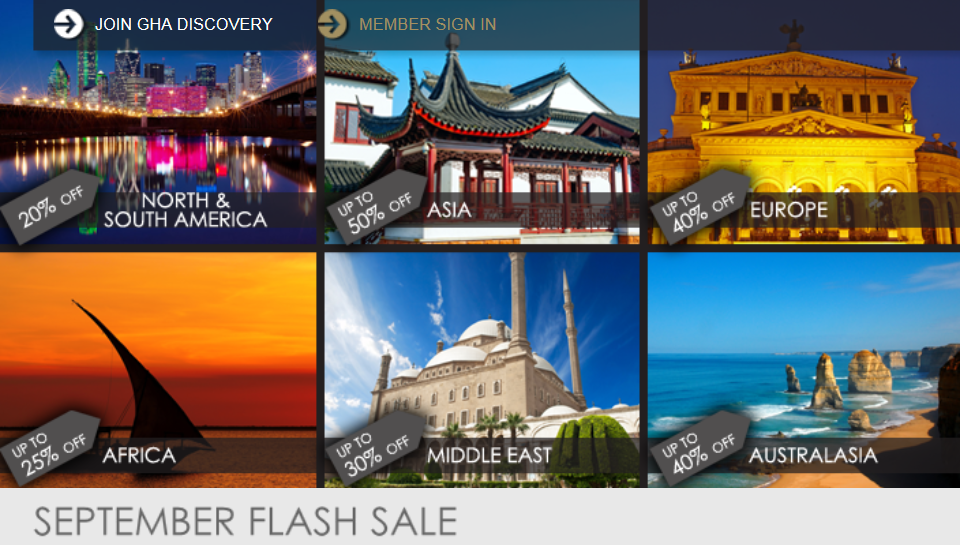 GHA Global Hotel Alliance September 2014 Flash Sale