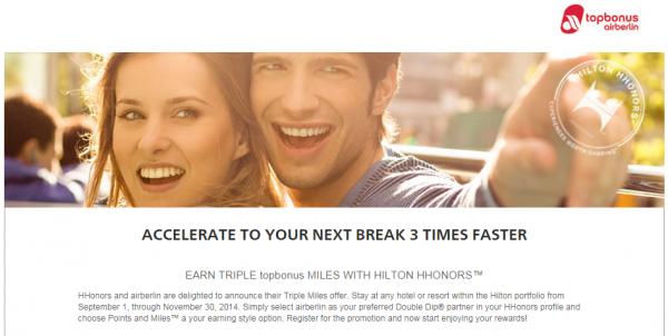 Hilton HHonors Airberlin Topbonus Triple Miles Fall 2014