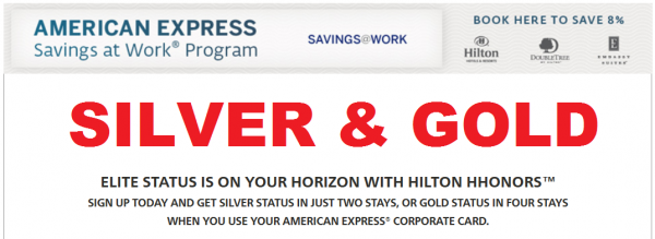 Hilton HHonors Amex Silver Gold Fasttrack Offer