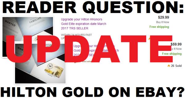 Hilton HHonors Gold eBay Update