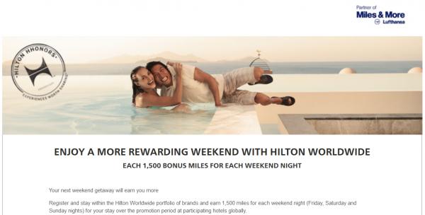 Hilton HHonors Lufthansa Miles&More Weekend 1500 Bonus Miles Offer
