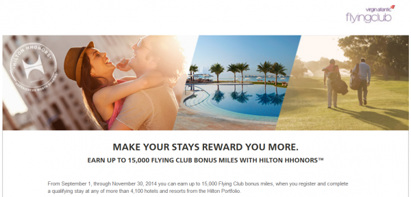 Hilton HHonors Virgin Atlantic September 1 November 30 2014 Promotion