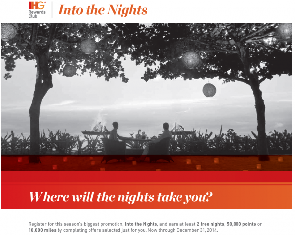 """IHG Rewards Club """"Into The Nights"""" Promotion Earn At Least 2 Free Nights, 50,000 Bonus Points Or 10,000 Airlines Miles September 4 – December 31, 2014"""