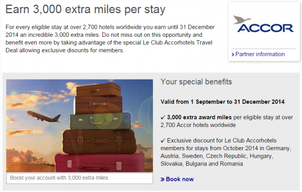 Le Club Accorhotels Lufthansa Miles&More 3,000 Bonus Miles Offer Fall 2014