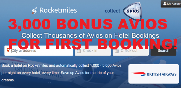 Rocketmiles British Airways Avios 3,000 Bonus Miles First Booking Offer