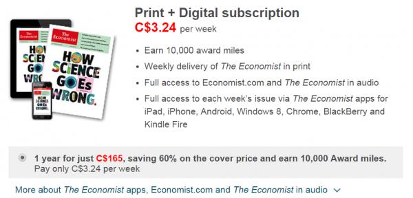 The Economist Miles&More 10,000 Bonus Miles Fall 2014