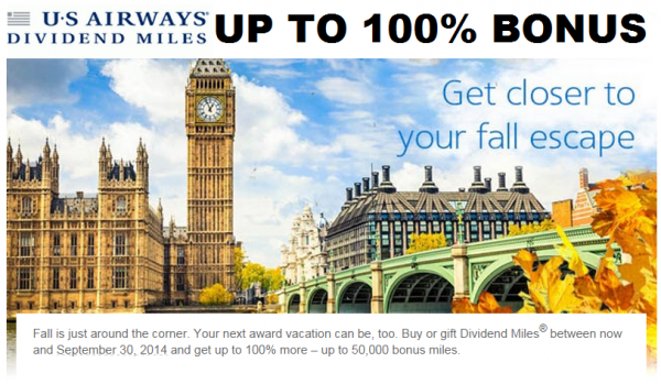 US Airways Buy Dividend Miles Promotion September 2014 Main