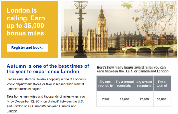 United Airlines Air Canada London Fall 2014 Up to 35,000 Bonus Miles Offer