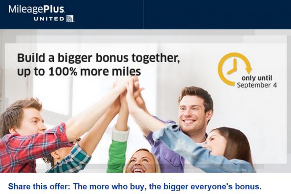United Airlines MileagePlus Buy Miles Up To 100 Percent Bonus September 2014 U