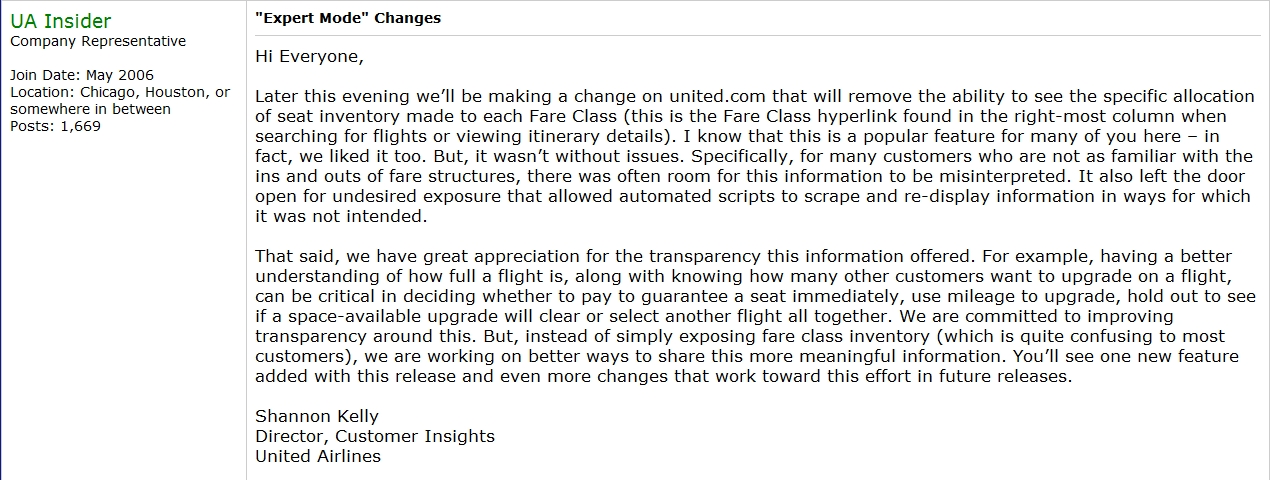 United Announcement About Removal of Availability Display