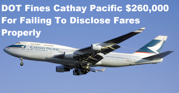 Cathay Pacific DOT Fine