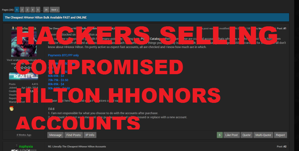 Hackers Selling Compromised Hilton HHonors Accounts Online ...