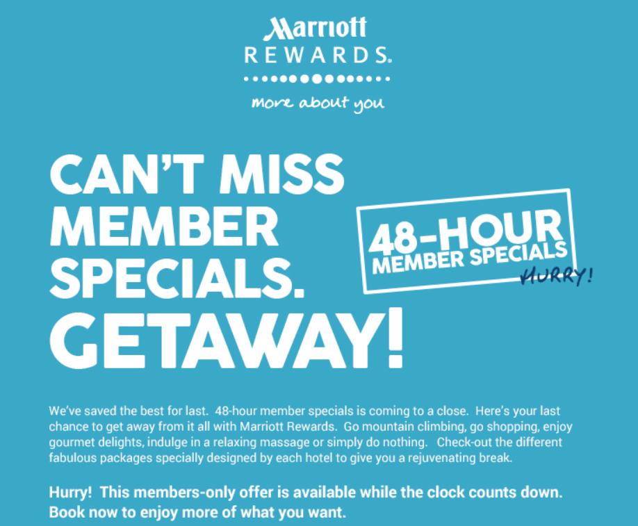 Marriott Rewards Asia Pacific 48 Hour Flash Special