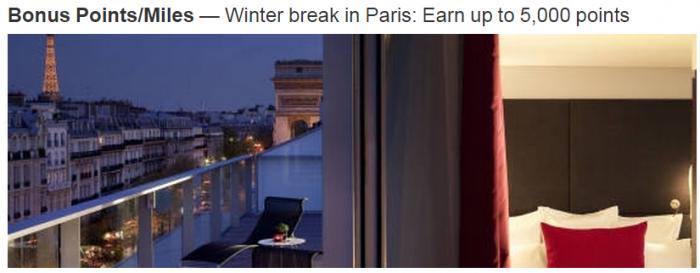 Marriott Rewards paris Up To 5000 Bonus Points Per Stay November 9 January 31 2015