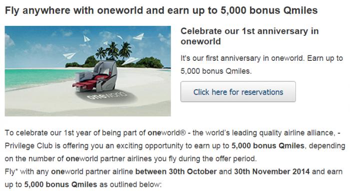 Qatar Airways Oneworld Alliance One Year