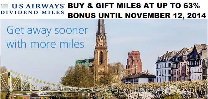 US Airways Dividend Buy & Gift Dividend Miles Up To 63 Percent Bonus October November 2014