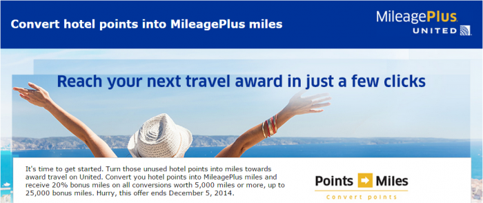 United Airlines MileagePlus Points To Miles Promo Fall 2014