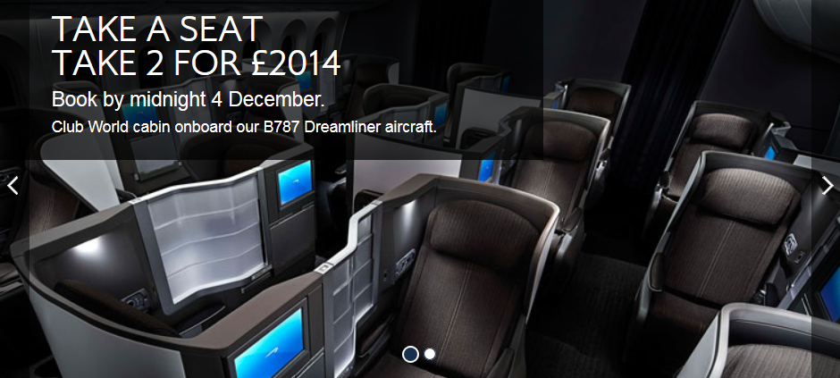 British Airways Two Business Class Tickets For 163 2014