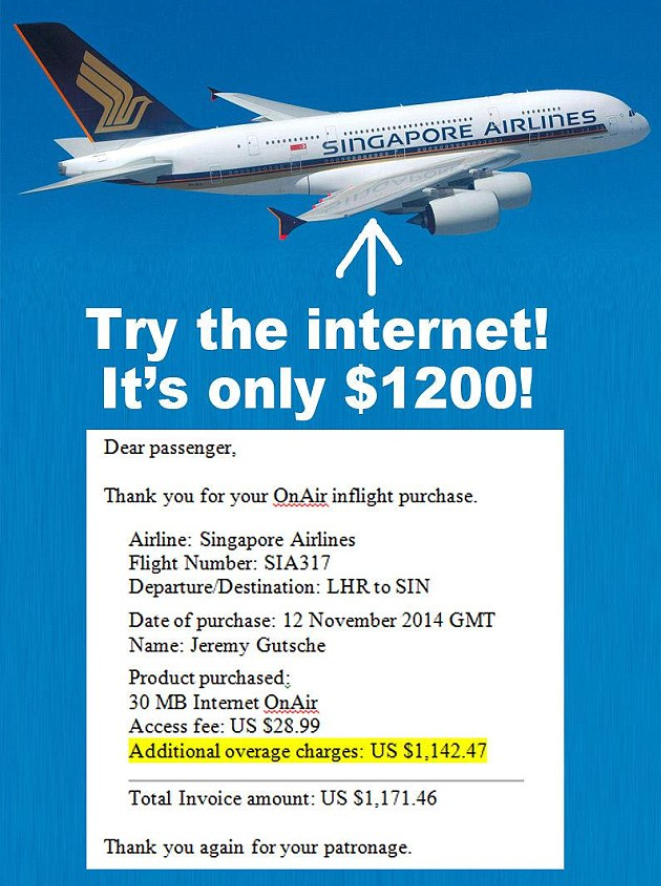 Singapore Airlines OnAir Internet Charge