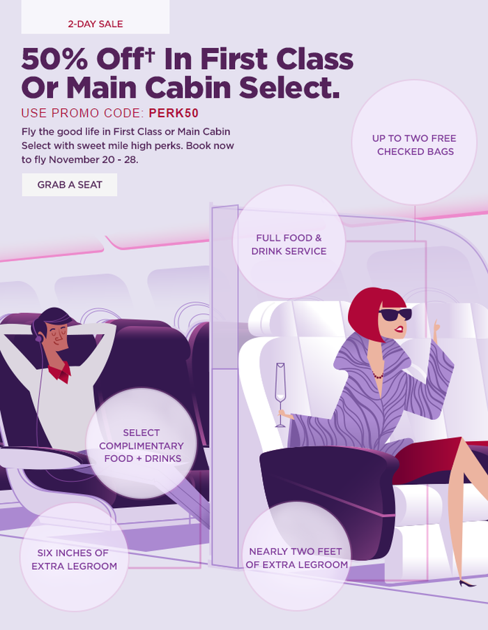 Attractive Virgin America 50 Percent Off Main Cabin Select U0026 First Class
