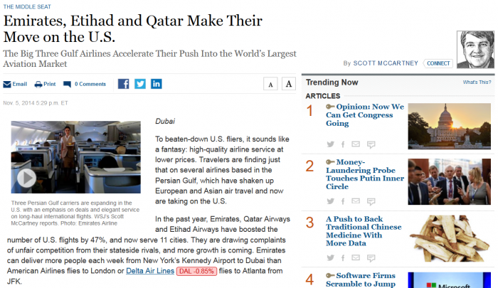 WSJ Emirates, Etihad and Qatar Make Their Move on the U.S.