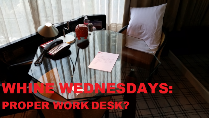Whine Wednesdays Hotel Room Workdesk