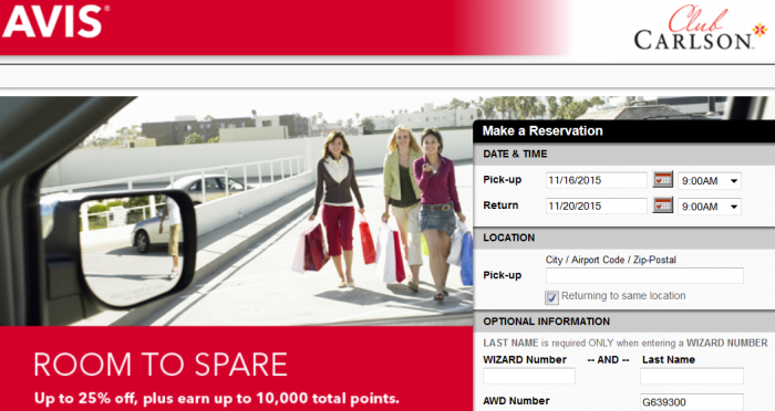 Avis Club Carlson 9,000 - 10,000 Bonus Points