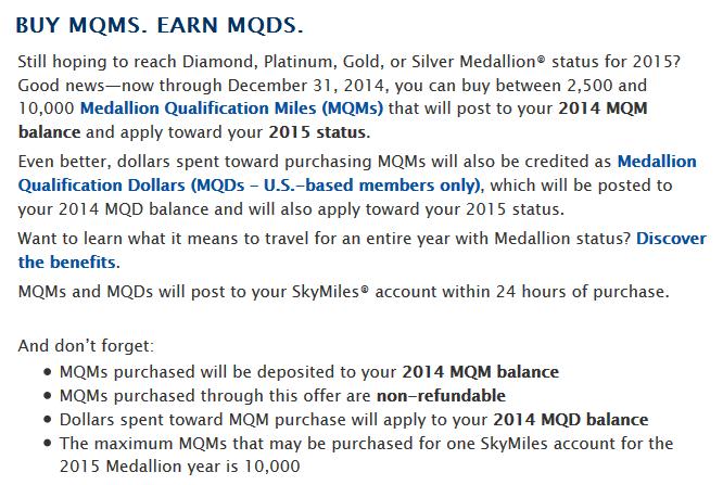 Delta Air Lines Buy Medallion Miles Fall 2014 Offer