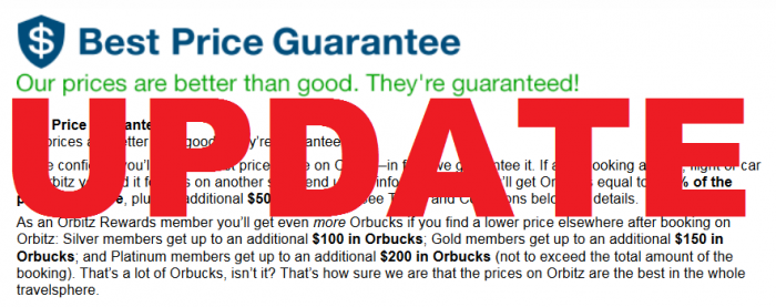 Orbitz Best Price Guarantee Terms and Conditions Update