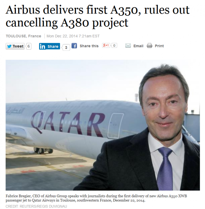 Reuters Airbus A350 First Delivery