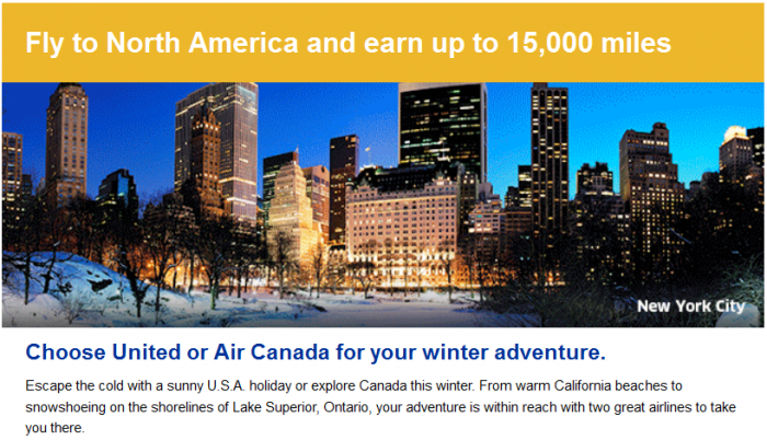 United Airlines MileagePlus Air Canada Aeroplan 15,000 Bonus Miles Europe North America