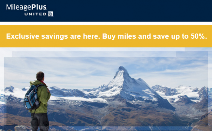 United Airlines MileagePlus December Targeted Buy Miles Offer